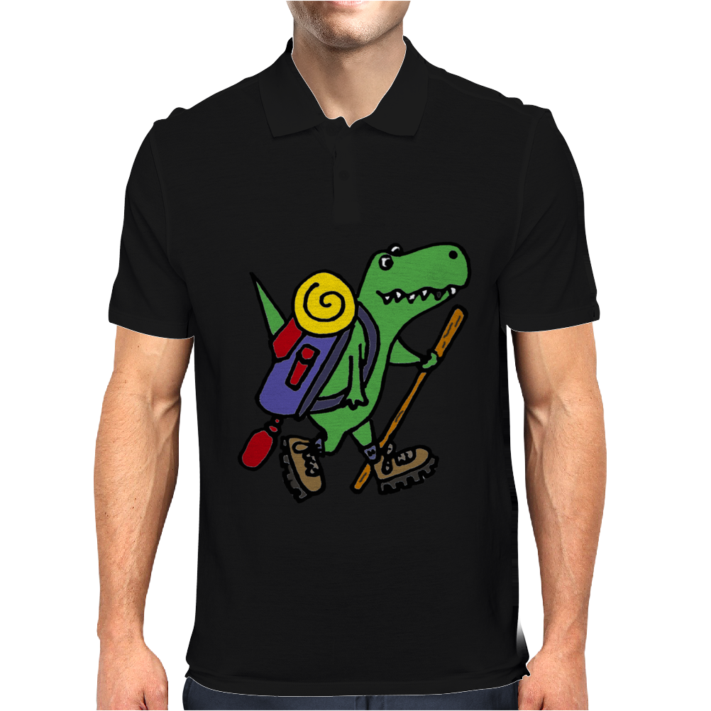 Awesome Funny T-Rex Dinosaur is Hiking Mens Polo