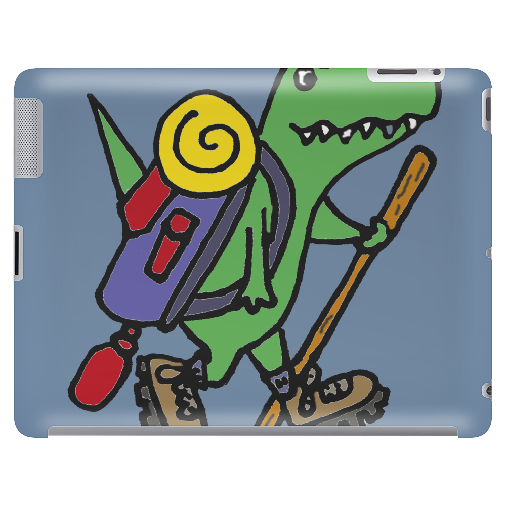 Awesome Funny T-Rex Dinosaur is Hiking Tablet