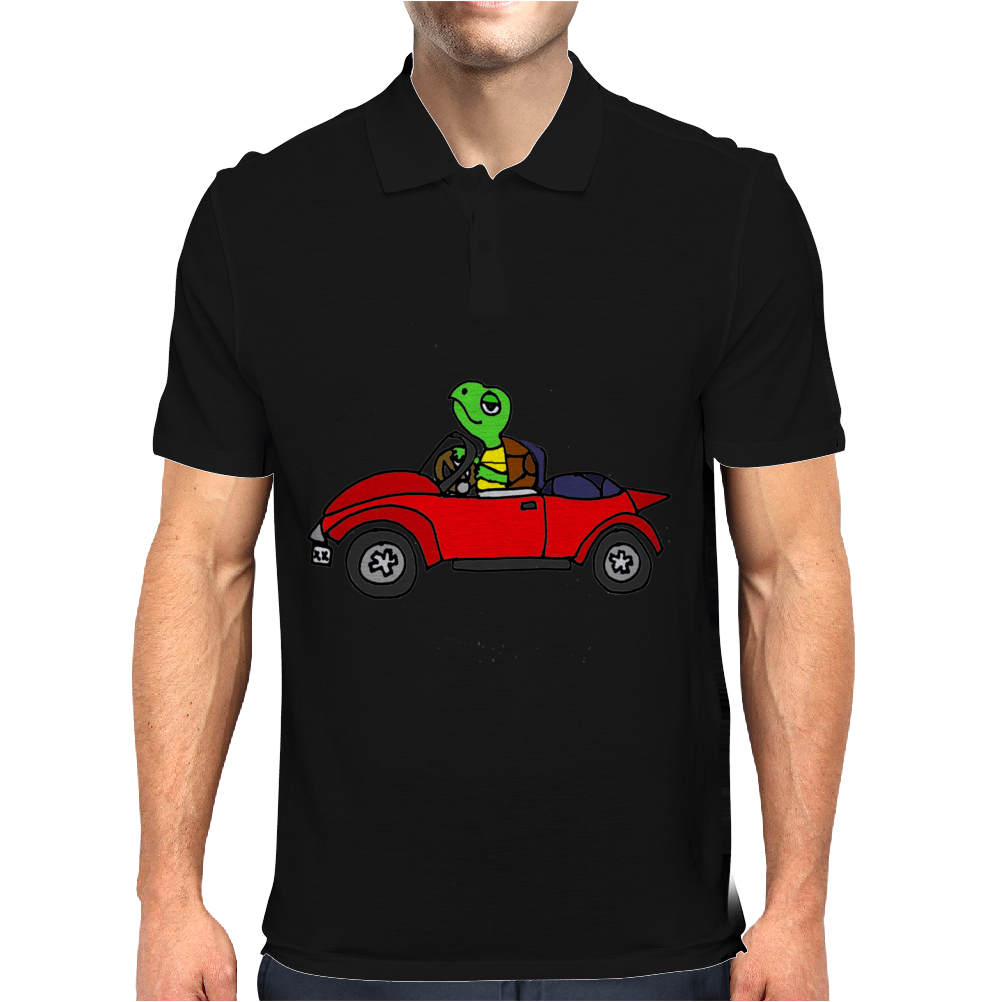Awesome Funny Turtle Driving Red Convertible Car Mens Polo