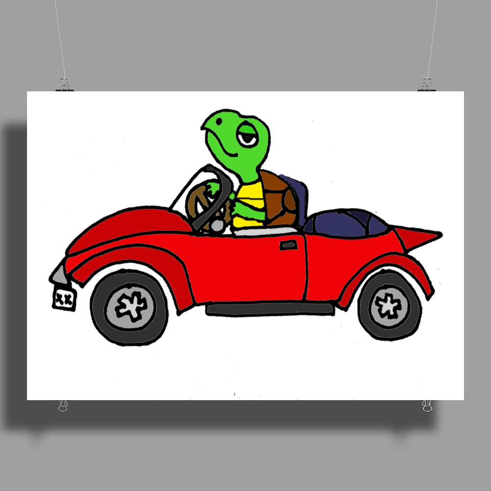 Awesome Funny Turtle Driving Red Convertible Car Poster Print (Landscape)
