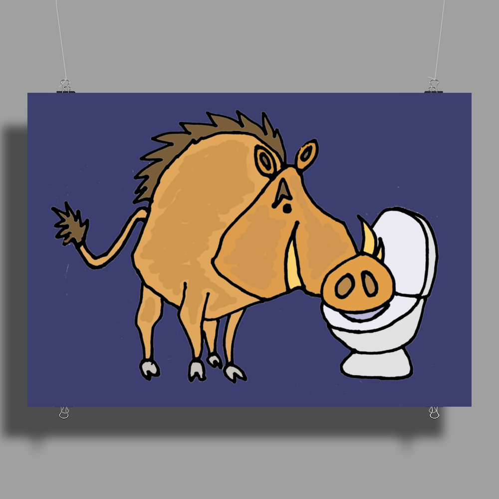 Awesome Funny Warthog Drinking from Toilet Bowl Poster Print (Landscape)