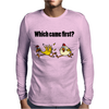 Awesome Funny Which Came First Chicken or Egg Cartoon Mens Long Sleeve T-Shirt