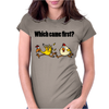 Awesome Funny Which Came First Chicken or Egg Cartoon Womens Fitted T-Shirt