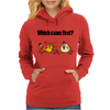 Awesome Funny Which Came First Chicken or Egg Cartoon Womens Hoodie