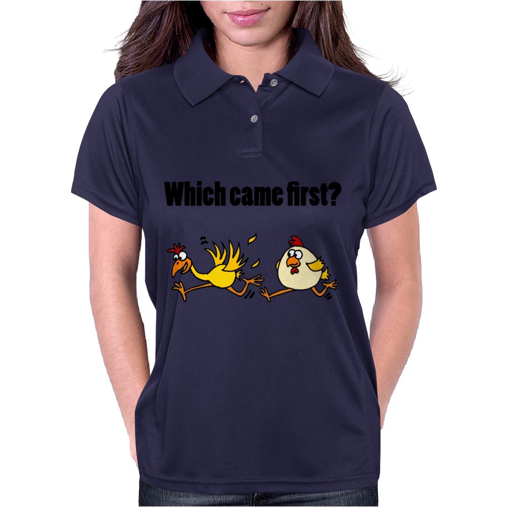 Awesome Funny Which Came First Chicken or Egg Cartoon Womens Polo