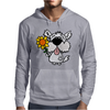 Awesome Funny White Dog Holding Sunflower Mens Hoodie