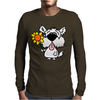 Awesome Funny White Dog Holding Sunflower Mens Long Sleeve T-Shirt