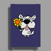 Awesome Funny White Dog Holding Sunflower Poster Print (Portrait)
