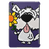 Awesome Funny White Dog Holding Sunflower Tablet