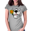 Awesome Funny White Dog Holding Sunflower Womens Fitted T-Shirt