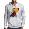 Awesome Funny Yellow Labrador Dog Riding Bicycle Mens Hoodie
