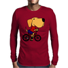 Awesome Funny Yellow Labrador Dog Riding Bicycle Mens Long Sleeve T-Shirt