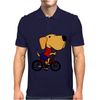 Awesome Funny Yellow Labrador Dog Riding Bicycle Mens Polo