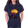 Awesome Funny Yellow Labrador Dog Riding Bicycle Womens Polo
