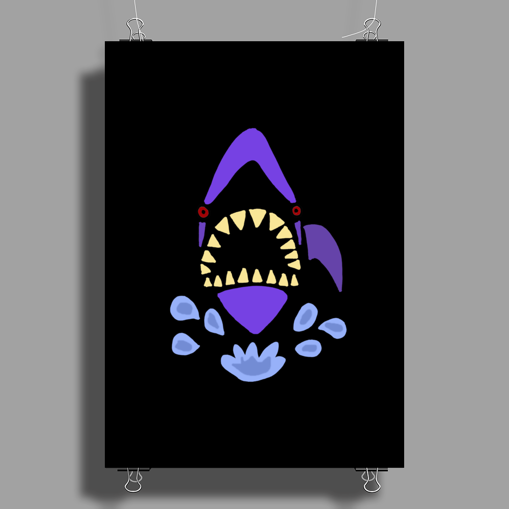 Awesome Gaping Shark Jaws Beach Abstract Poster Print (Portrait)