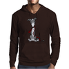Awesome Gray and White Greyhound Dog with Leash Mens Hoodie