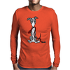 Awesome Gray and White Greyhound Dog with Leash Mens Long Sleeve T-Shirt