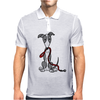 Awesome Gray and White Greyhound Dog with Leash Mens Polo
