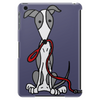 Awesome Gray and White Greyhound Dog with Leash Tablet