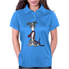 Awesome Gray and White Greyhound Dog with Leash Womens Polo