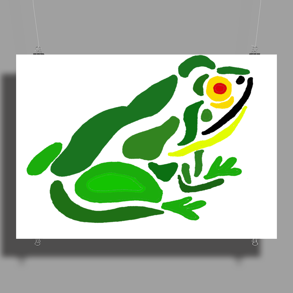 Awesome Green Frog Abstract Art Poster Print (Landscape)