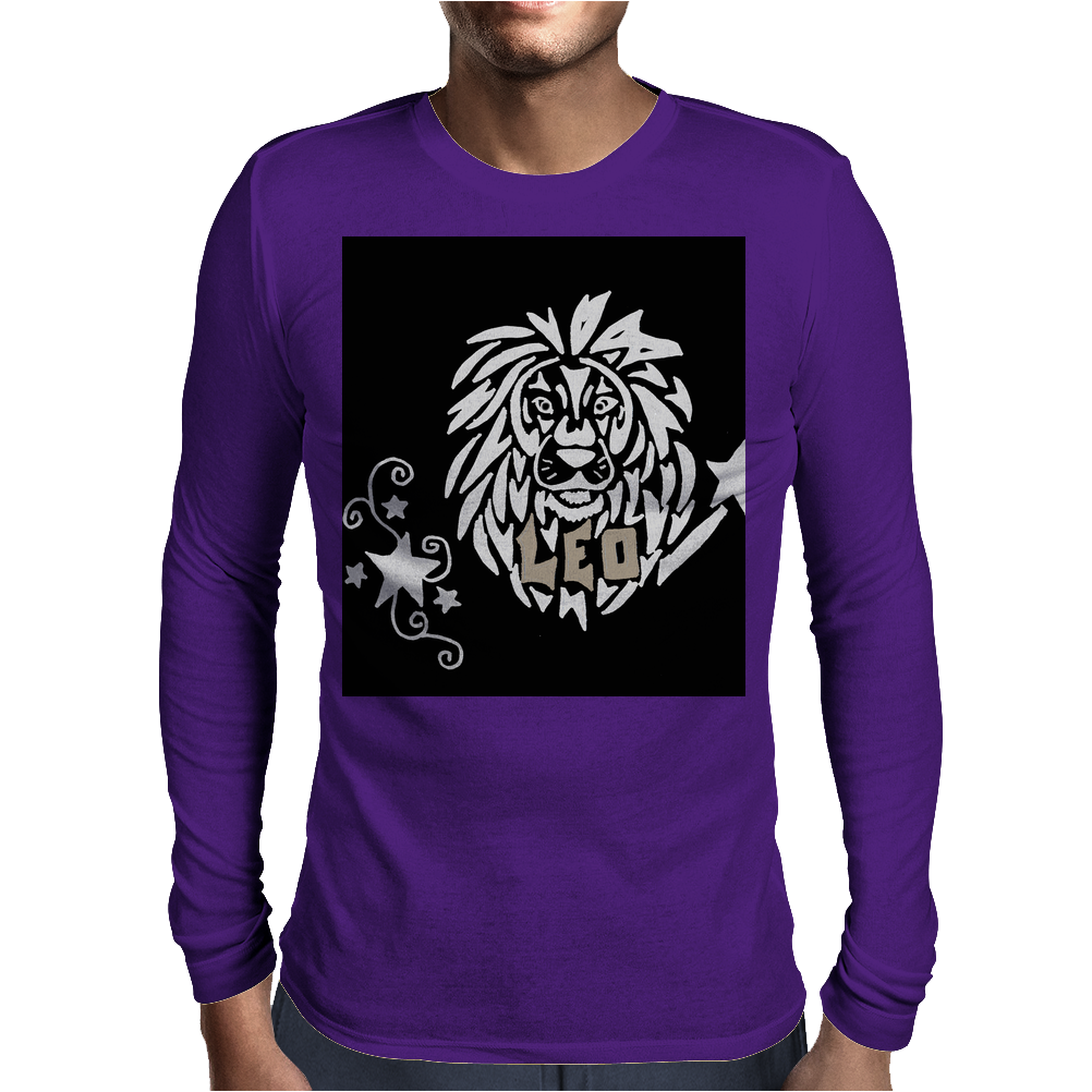 Awesome Leo Lion Zodiac Astrology Sign Art Mens Long Sleeve T-Shirt