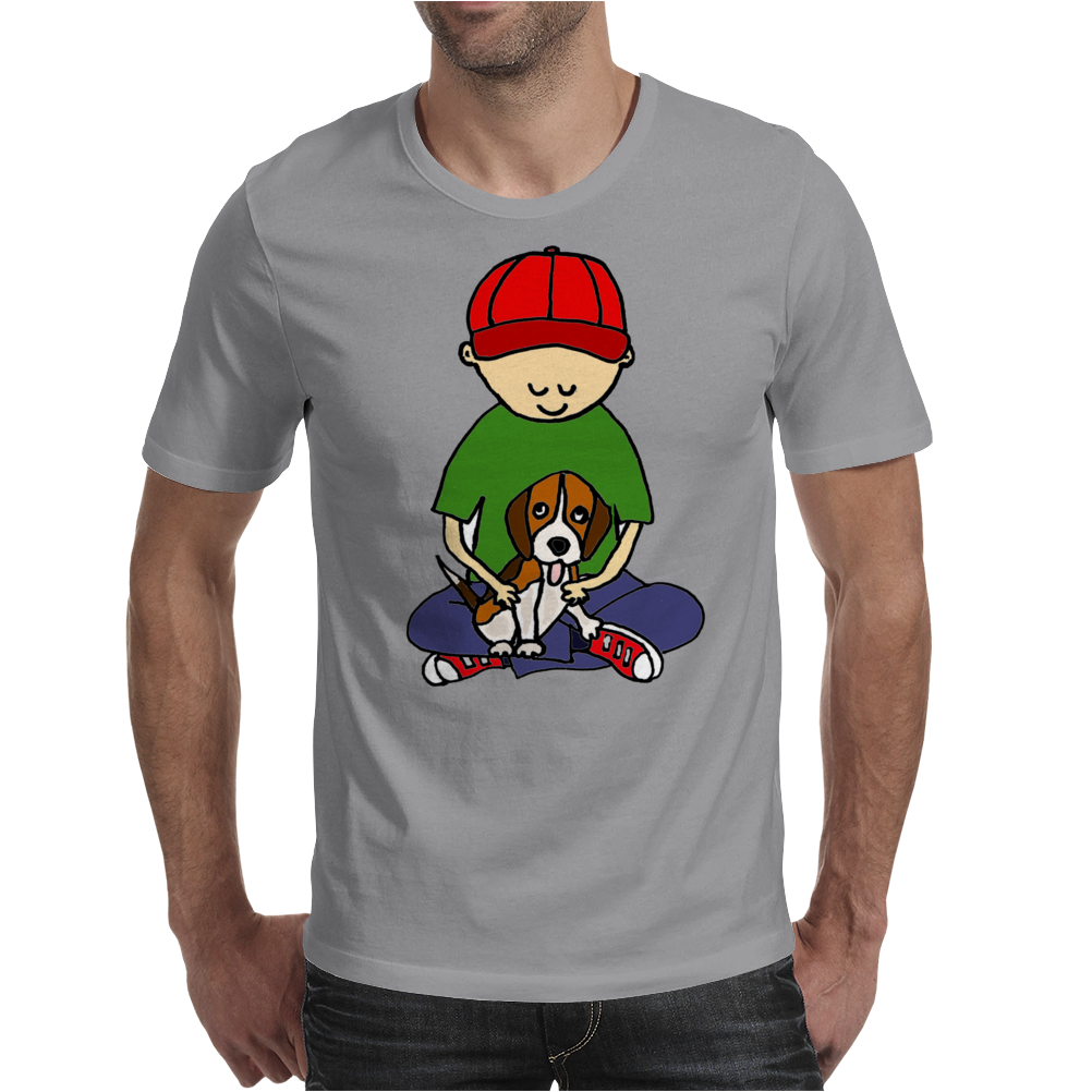 Awesome Little Boy Hugging Beagle Puppy Dog Mens T-Shirt