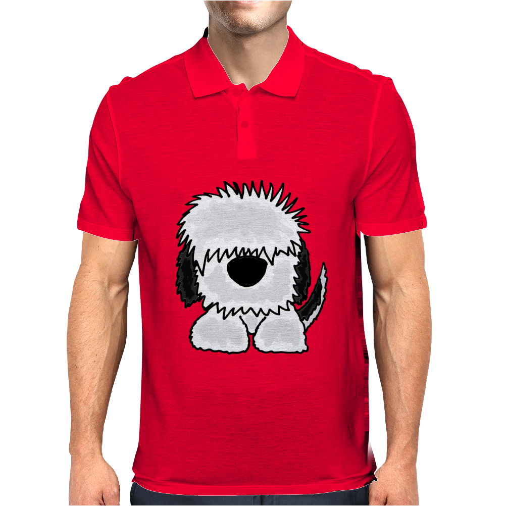 Awesome Old English Sheepdog Original Art Mens Polo