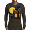 Awesome Owl and Moon Original Abstract Art Mens Long Sleeve T-Shirt