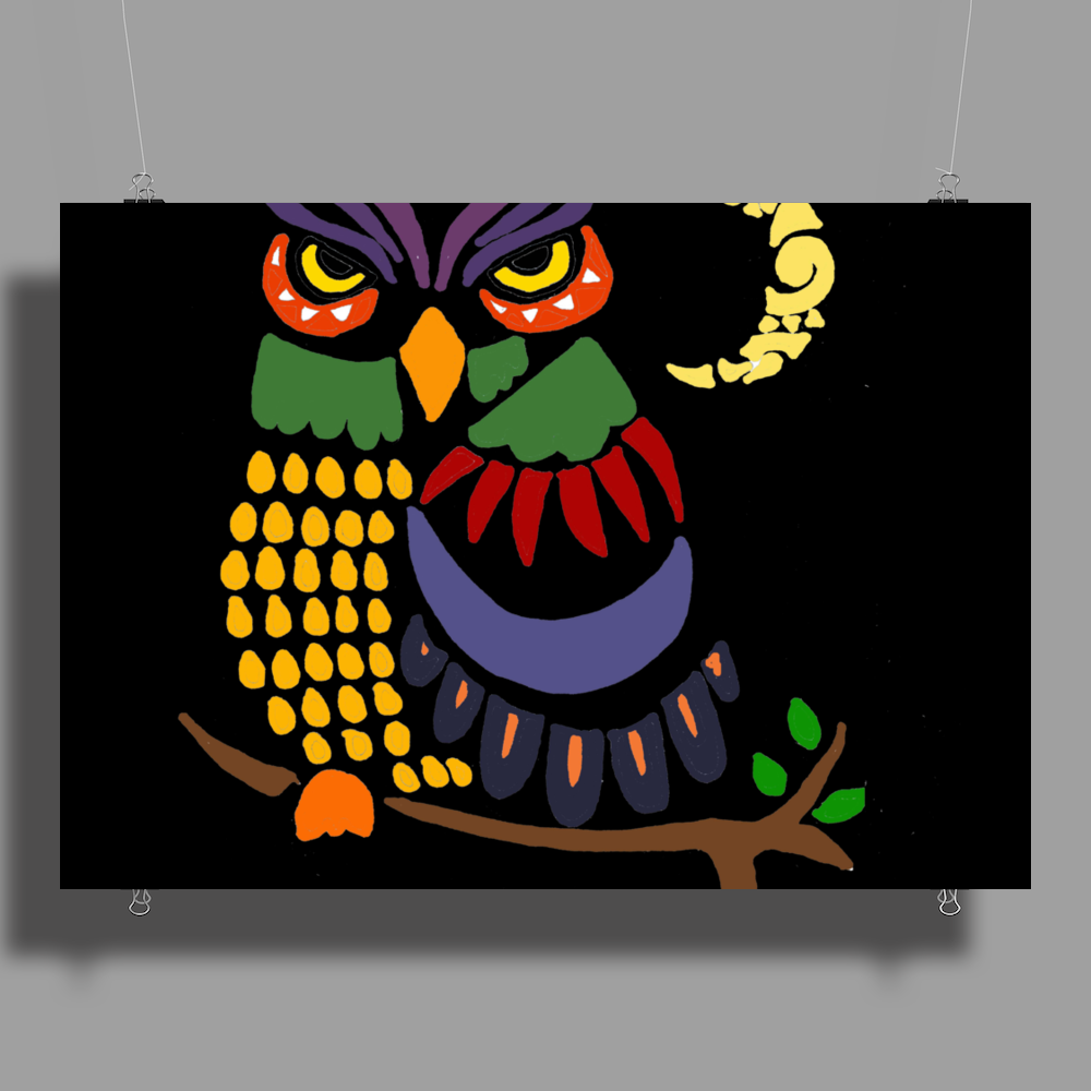Awesome Owl Art Abstract Poster Print (Landscape)