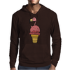 Awesome Pink Flamingo in Ice Cream Cone Mens Hoodie