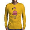 Awesome Pink Flamingo in Ice Cream Cone Mens Long Sleeve T-Shirt