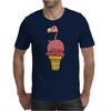 Awesome Pink Flamingo in Ice Cream Cone Mens T-Shirt