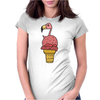 Awesome Pink Flamingo in Ice Cream Cone Womens Fitted T-Shirt