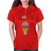 Awesome Pink Flamingo in Ice Cream Cone Womens Polo