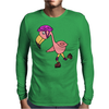 Awesome Rollerblading Pink Flamingo Bird Mens Long Sleeve T-Shirt