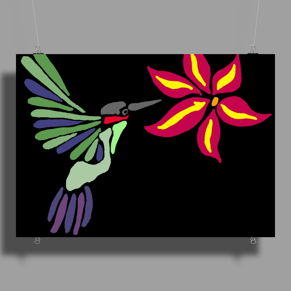 Awesome Ruby-Throated Hummingbird Abstract Art Poster Print (Landscape)