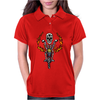 Awesome Skeleton Riding Motorcycle Artwork Womens Polo