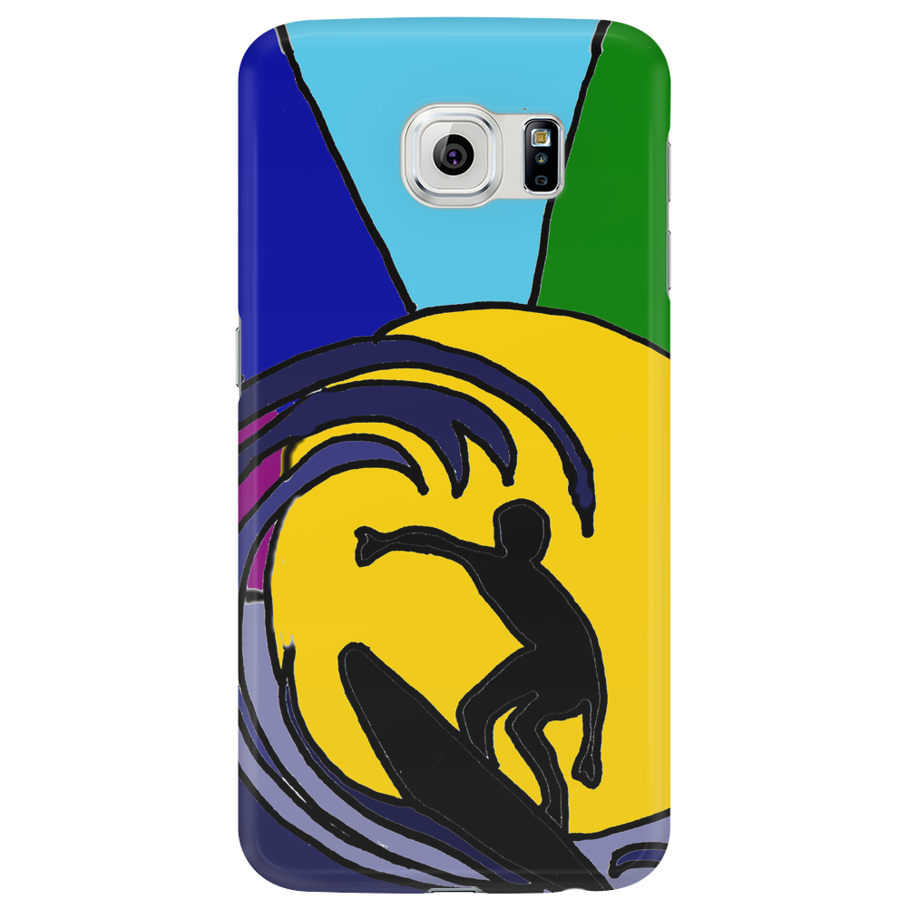 Awesome Surfer in the Sun and Waves Abstract Phone Case