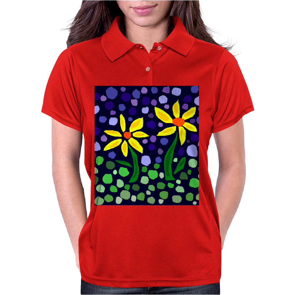 Awesome Yellow Daisy Flowers Abstract Art Original Womens Polo