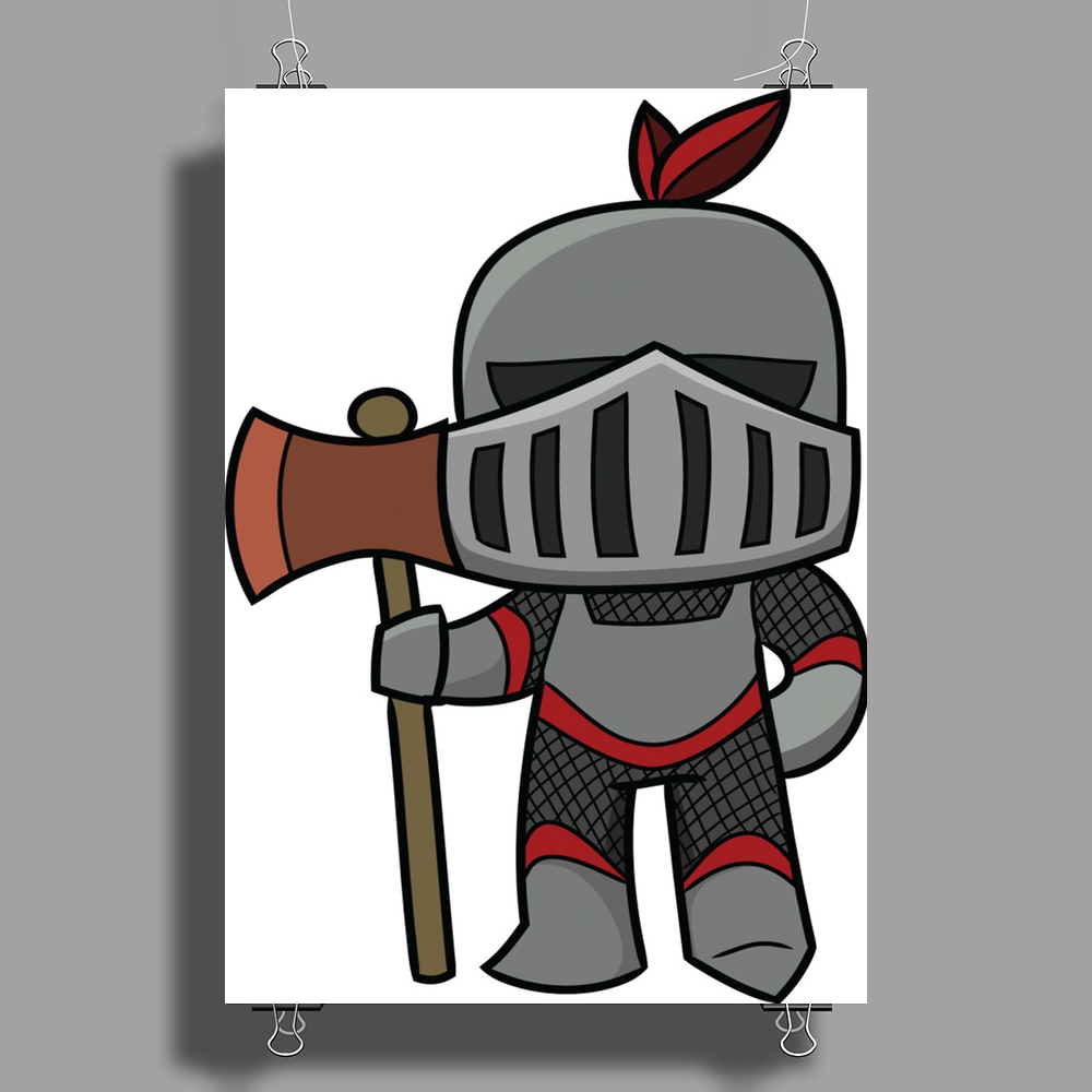 Axe Weilding Knight Poster Print (Portrait)