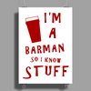 Barmen know stuff - red Poster Print (Portrait)