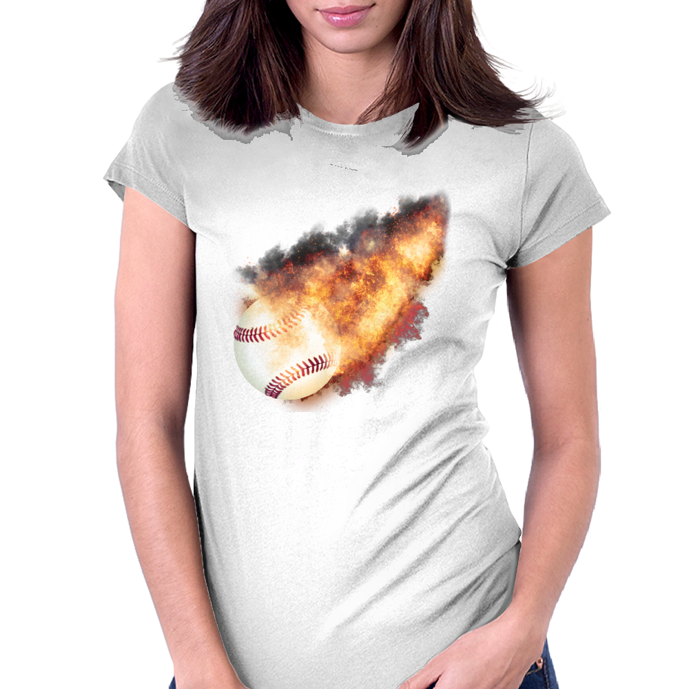 Baseball Flames Womens Fitted T-Shirt
