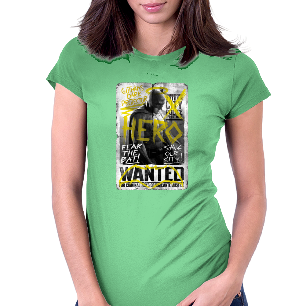 Batman Vs Superman Movie Wanted Poster Dc Comics Womens Fitted T-Shirt