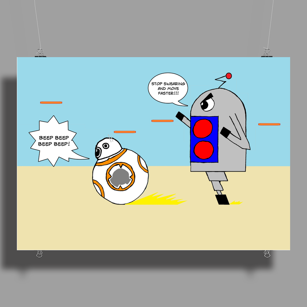 BB8 and Bobby deBot Poster Print (Landscape)