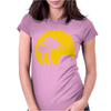 Beach Silhouette Birds Sand Sunset Womens Fitted T-Shirt
