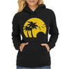 Beach Silhouette Birds Sand Sunset Womens Hoodie