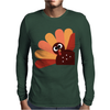 Beautiful Cartoon Turkey Bird for Thanksgiving Mens Long Sleeve T-Shirt
