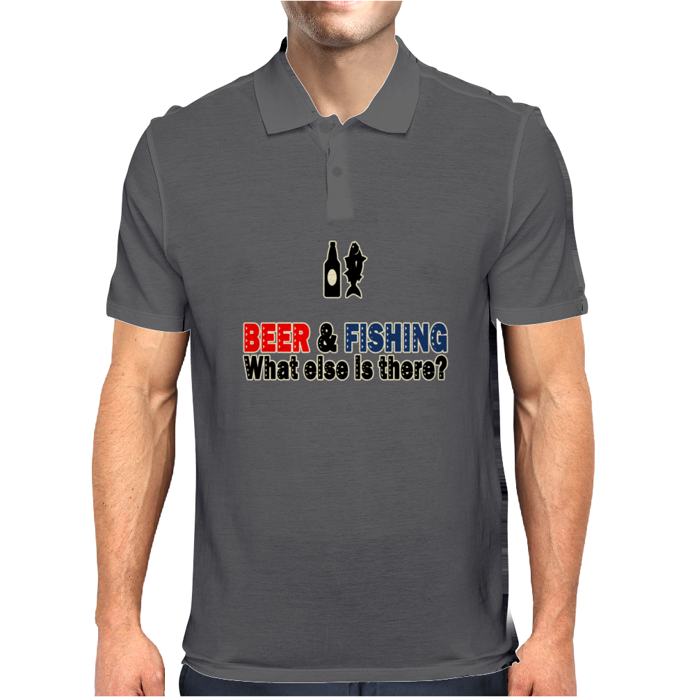 Beer and Fishing Funny Humor Geek Mens Polo