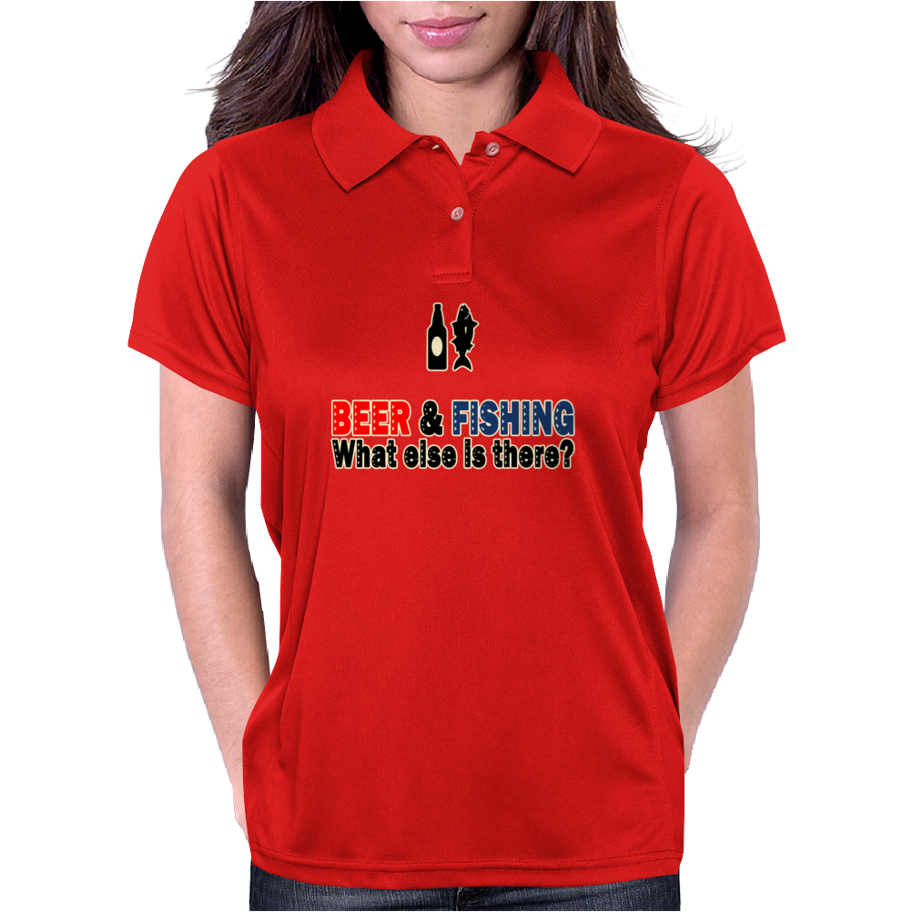 Beer and Fishing Funny Humor Geek Womens Polo